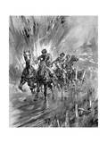 Horses Running the Gauntlet of the Guns, 1917 Giclee Print by Howard K. Elcock