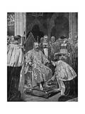 Lord Great Chamberlain Presenting Spurs to the King Giclee Print by John Charlton