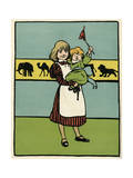 Girl Minds Baby Brother Premium Giclee Print by John Hassall