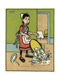 Maid Drops Tray Giclee-trykk av John Hassall