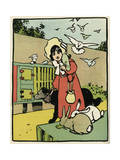 Girl with Pets Premium Giclee Print by John Hassall
