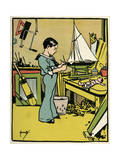 Boy Making Toys C1900 Giclee Print by John Hassall