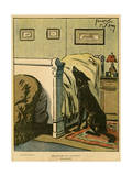 Dog by Owner's Bed 1918 Giclee Print by Jacques Nam