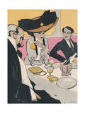 Three German Diners 1910 Giclee Print by J. Gose