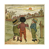 Three Boys Walking Along a Lane Giclee Print by Kate Greenaway