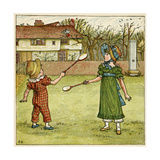 Girl and Boy Playing Shuttlecock and Battledore on the Grass Giclee Print by Kate Greenaway