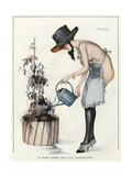 Semi-Nude Watering 1917 Giclee Print by Leo Fontan