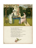 Two Girls Taking Tea on the Lawn Giclee Print by Kate Greenaway