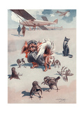 A Small Dog Dressed as a Pilot Ready for Take Off Giclee Print by L.r. Brightwell