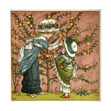 Two Girls Picking Apples from a Tree Giclee Print by Kate Greenaway