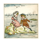 Girl and Boy Sitting on a Rock Giclee Print by Kate Greenaway
