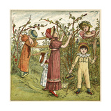 Five Children Picking Blackberries Giclee Print by Kate Greenaway