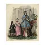 Mother and Two Children in the Latest French Fashions Giclee Print by Jules David