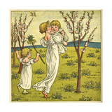 Girl with Toddler and Baby Giclee Print by Kate Greenaway