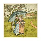 Three Girls under Blue Parasol Giclee Print by Kate Greenaway