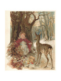 Girl and Deer Giclee Print by Marie Seymour Lucas