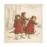 Three Girls in Snow 1900 Giclee Print by Kate Greenaway