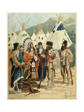 Trading Between Canadian Premium Giclee Print by Louis Charles Bombled
