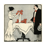 Wife Arranges Flowers Giclee Print by Paul Fischer