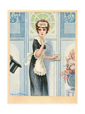 Maid Admitting Visitor Premium Giclee Print by Maurice Milliere