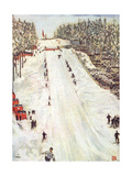 Ski Jumping in Oslo 1905 Giclee Print by Nico Jungman