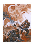 Paratroops Landing 1944 Giclee Print by Raoul Auger