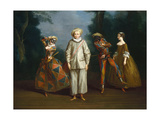 Pierrot and Harlequin Premium Giclee Print by Philippe Mercier
