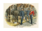 Working in the Military Stables Giclee Print by Richard Simkin