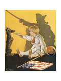 WW1 Cartoon, Boy and Dog Giclee Print by Paul Stahr