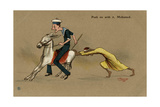 British Sailor on a Mule, Pushed by Egyptian Man Giclee Print by V. Manavian