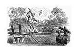 Man and Dog Crossing Bridge in Stormy Weather Giclee Print by Thomas Bewick