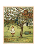 Girl Picks Fruit 1881 Premium Giclee Print by Thomas Crane