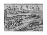 Crocodile Hunting, De Bry Giclee Print by Theodore de Bry