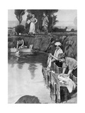 Using a Shell Hole as a Wash-Tub, WW1 Giclee Print by W. Hatherell