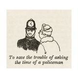 Asking Policeman Time Giclee Print by William Heath Robinson