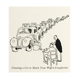 Choosing a Car to Match Your Wife's Complexion, W Heath Rob Giclee Print by William Heath Robinson