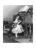 Music at Home - Little Girl at the Piano Giclee Print by W.h. Mote