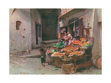 Fruit Stall at San Remo Giclee Print by Walter Tyndale