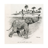 How the Elephant Crosses a River Giclee Print by W.H. Drake