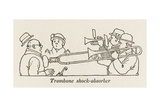 Trombone Shock Absorber Giclee Print by William Heath Robinson