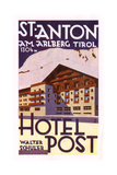 Label, Hotel Post, St Anton Am Arlberg, Tyrol, Austria Stampa giclée