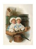 Twins and Luggage Giclee Print