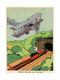 A Biplane and a Steam Train Giclee Print