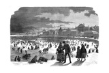 Ice Skating in Stockholm Harbour in Winter Giclee Print