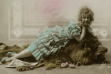 Woman with Lion 1920s Photographic Print