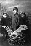Three Children, Pram Photographic Print