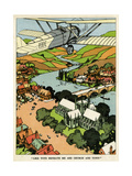 Biplane Above Church and Town Giclee Print
