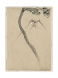 A Tree Trunk with Branch and Leaves - Mount Fuji - Hokusai Reproduction procédé giclée