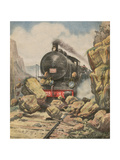 Train Bandits Foiled, C20 Giclee Print by Alfredo Ortelli