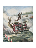Crash at Brooklands Giclee Print by Aldo Molinari